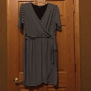 Faux wrap Covington striped dress 1X